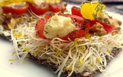 Raw Dag 6 : Rauwe veganistische roomkaas sandwich met alfalfa
